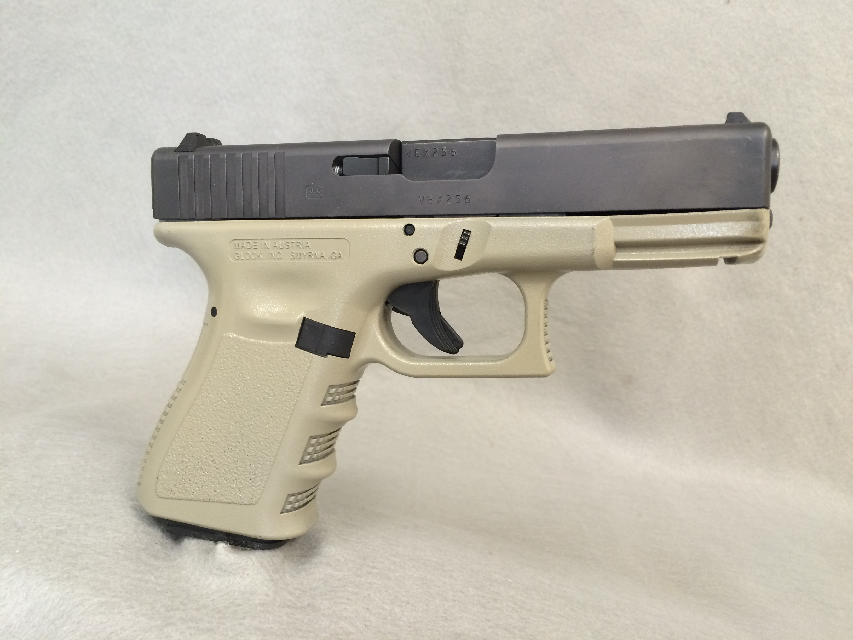 Glock 19 with Blackhawk Coyote Tan DuraCoat Frame